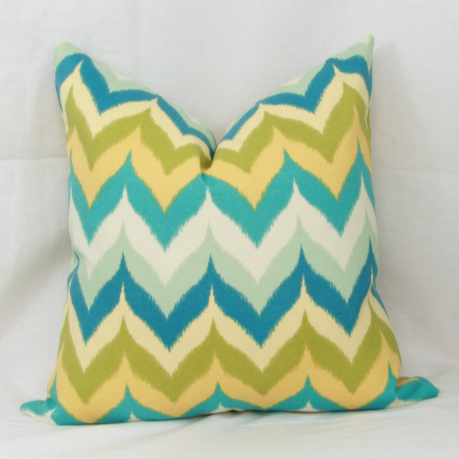 Turquoise green yellow flamestitch chevron outdoor throw