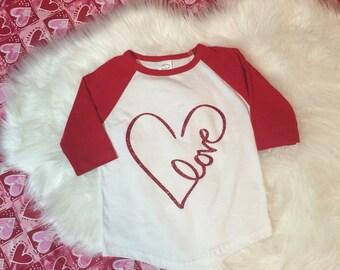 Red Glitter Heart Shirt
