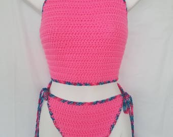 Crochet Halter Top Crochet Swimsuit Crochet Bikini Pink Crochet Top