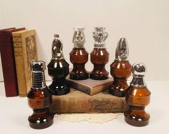 Avon Chess Piece Decanter Bottles Set of 6 King Queen Knight Bishop Rook Pawn