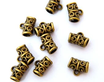 Bails, bronze plated brass, lots of 10 pieces