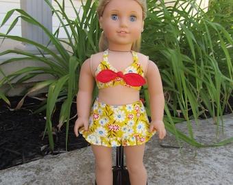 "18"" Doll Swimsuit fits dolls like American Girl"