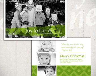 Christmas Card Template: Rejoice B - 5x7 Holiday Card Template for Photographers