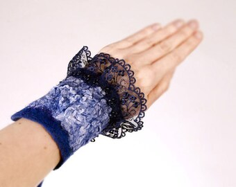Felted Bracelet Navy Blue merino laces, silk chiffon, Victorian, romantic, nuno, fiber art
