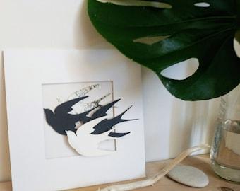 Laser cut bird assemblage