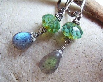 Labradorite & Faceted Czech Glass Earrings