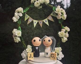 Personalised Western Wedding Cake Topper, Peg Doll Wedding Cake topper, Bride and Groom cake topper, Kokeshi Wedding Cake Topper