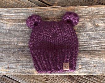 Newborn FIG Purple Bear Hat, Baby Bear Hat,Newborn Hat,Baby Hat, Winter hat,photo prop