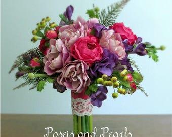 "Lavender, Purple, Pink, and Green, Silk Flower Bridal Bouquet, Ranunculus, Tulips, Hydrangea, Freesia, Fern, Wedding Flowers, ""Radiance"""