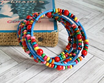 beaded bracelet, colorful jewelry, wrap bracelet, boho jewelry, gift for her, gift for women