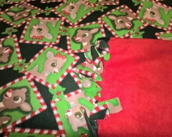 Rudolph the Red Nosed Reindeer No Sew Fleece Blanket
