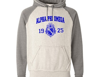 Alpha Phi Omega Vintage Heather Hooded Sweatshirt - Royal Blue Print (unless noted otherwise)