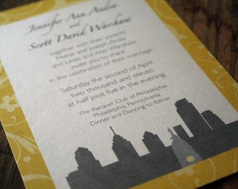 Modern Skyline Wedding Invitation, Philly Wedding Invitations, Philadelphia Wedding Invites, any city wedding invites,Modern Skyline Wedding