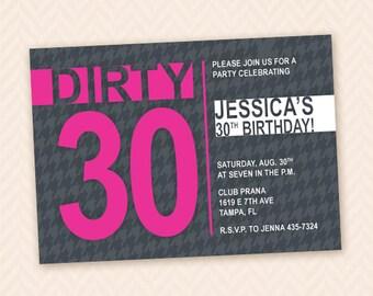 Dirty Thirty Printable Milestone 30th Birthday Party Invitation Design