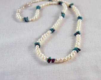 Summer Elegance Pearls and Turquoise Necklace/ Casual Elegance