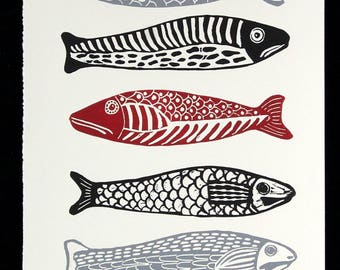 linocut, print, 5 fish, fish, red, black, grey, white, gift for him, fishing, beach house, stripes, printmaking, home interior, fisherman