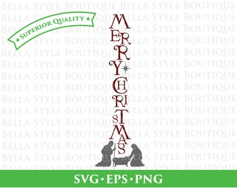 Vertical Merry Christmas Nativity svg png eps cut file