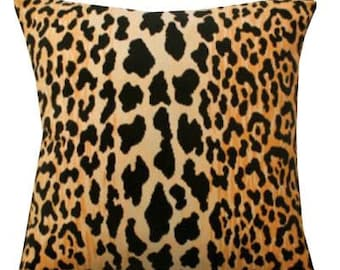 NEW-JAMIL NATURAL-Leopard--Both Sides-Designer Decorative Pillow Cover -Amber Gold -Black-Creamy Ivory  Throw and Lumbar PillowCovers