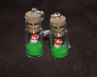 glass jars earrings small red and white mushroom