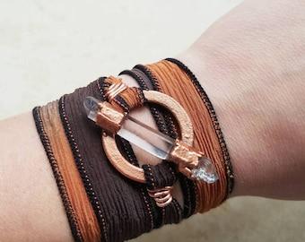 Copper Electroformed Silk Ribbon Wrap Bracelet / Boho Jewelry / Quartz Crystal / Crystals / Bracelets