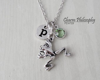 Frog Charm Necklace - Antique Silver Jewelry - Monogram Personalized Initial and Birthstone - Frog Gifts