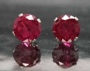 Lab Ruby Silver Studs Earrings Jewelry Round Cut July Birthstone Sterling Created Anniversary Birthday Gift Bridal Bridesmaid E21