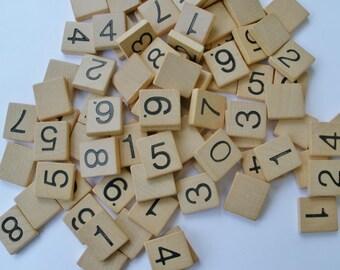 Vintage Scrabble Numble Tiles set of 50 Random Assortment