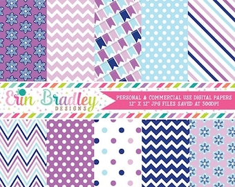 80% OFF SALE Digital Papers Winter Purples and Blues with Commercial Use Polka Dots Snowflakes Chevron Stripes Bunting Background Patterns