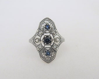 Vintage Sterling Silver Natural Blue Sapphire & Seed Pearl Ring Size 8