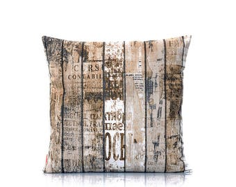 Rustic pillow cover, wood pillow, old wood, wood grain cover, home decor, urban cushion, throw pillow, toss, decoration, 18x18 inch