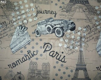 "Fabric C532 Paris ""romantic journey"" coupon 45x50cm"