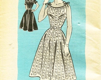 "SZ 14/Bust 32"" - Vintage 1950's Dress Pattern - Mail Order Pattern 4599 - Misses' Flared Day Dress in Two Variations"
