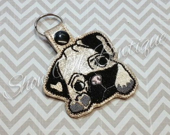 Pug Snap Key Fob design Instant Download