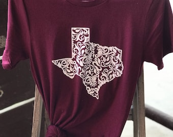 Floral Texas Tee / Women's Bella Canvas Tee / Lone Star State Tee