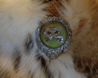 Antique Fur Clip Large 30mm Green Stone Marcasite Fancy Filigree Setting