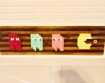 "14x48"" Pacman Rustic Wood Wall Art. Wooden Wall Art, Pacman Art, Wall Art, Reclaimed Wood Art, Modern Wall Art, Fun Wall Art, Pacman"