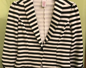 90s vintage 'Beetlejuice' Black and White Striped Fitted  Blazer Jacket goth steampunk circus carnival Mod Burning Man Festival Burlesque
