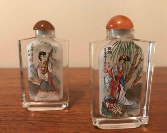 2 Vintage Japanese Reverse Painted Snuff Bottles
