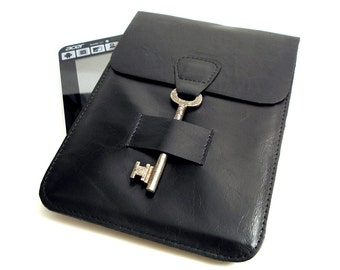 SALE Leather iPad Mini Case - Leather iPad E-reader Sleeve - Black Leather Kindle Case with Vintage Key Closure