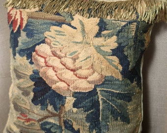 17th Century French Aubusson Verdure Tapestry Pillow Antique Cushion