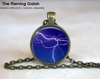 LIGHTENING Pendant •  Blue Lightening •  Lightening Bolt •  Thunder and Lightening •  Storm • Gift Under 20 • Made in Australia (P0340)
