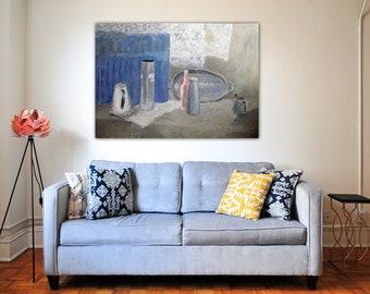 "MK Anisko - Still Life in Grays : 39"" x 28"" - 100 x 70 cm Original Acrylic Painting - contemporary still life by MK Anisko"