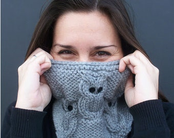 """Knitting cowl pattern """"3 little owls"""", to circular needles. Instant Download"""