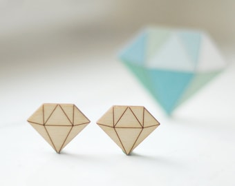 SET of 2pcs - LITTLE wooden diamond shapes, natural wood,  ready to decorate, unpainted, make your own, wooden supplies, jewelry supplies