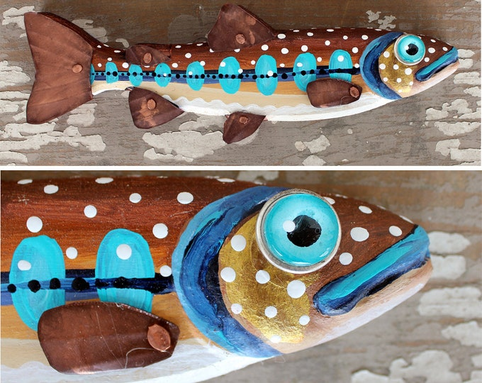 "Claude, 10"" Trout Minnow, Fun Hand-Painted Wood Fish Wall Art, Copper Fins, Colorful Folk Art, Made in Vermont, Fish Sculpture, Unique Gift"