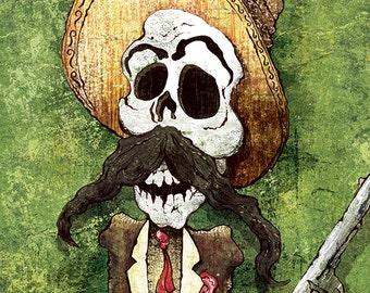 Dia de los Muertos Calavera Bandito - 18x24 art poster print