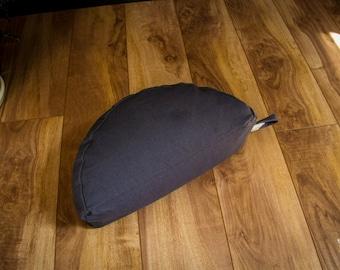 Crescent Travel meditation cushion half moon zafu Dark Gray buckwheat pillow handmade by Creations Mariposa