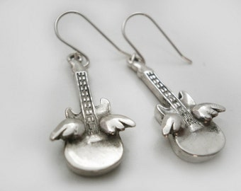 Silver Earrings Guitar with wings