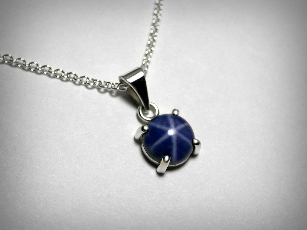 Created blue star sapphire necklace pendant sterling silver zoom aloadofball Gallery