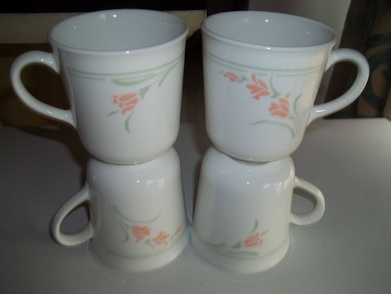 4 Peach Garland Corelle Coffee Tea Mugs